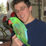 Nate with Amanda, Great-billed Parrot