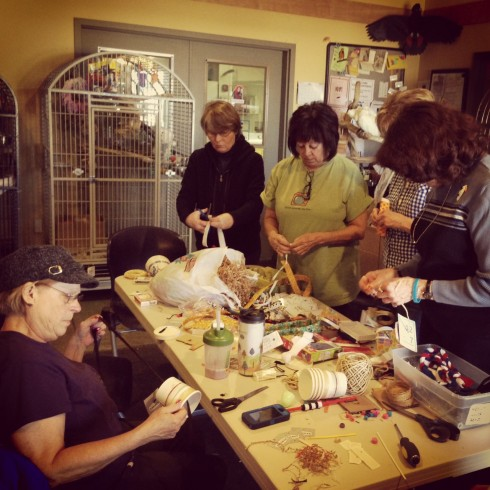 Volunteers Make Toys for the TGF Flock